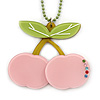 Baby Pink/ Light Green Acrylic Cherry Pendant With Green Beaded Chain - 44cm L