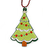 Light Green Acrylic, Red Crystal 'Christmas Tree' Pendant With Burgundy Beaded Chain - 44cm L