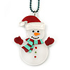 White/ Red Christmas Snowman Acrylic Pendant With Green Beaded Chain - 44cm L