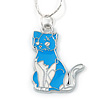 Blue/ White Enamel Kitty Pendant with Silver Tone Chain - 40cm L