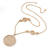Stylish Filigree Crystal Medallion Pendant with Gold Plated Chain - 86cm L/ 3cm Ext