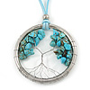 'Tree Of Life' Open Round Pendant with Turquoise Stones on Light Blue Suede Cord - 88cm L