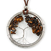 'Tree Of Life' Open Round Pendant with Tiger Eye Stones on Dark Brown Suede Cord - 88cm L