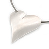 Brushed Silver Tone Heart Pendant Wired Cord Necklace - 40cm L/ 6cm Ext