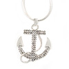 Clear Crystal Anchor Pendant with Snake Type Chain In Silver Tone Metal - 46cm L/ 4cm Ext