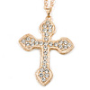 Clear Crystal 'Vaticana' Statement Cross Pendant and Long Chain (Gold Plating) - 72cm L