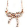 Delicate Small Crystal Bow Pendant with Rose Gold Tone Chain - 41cm L/ 5cm Ext