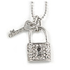 Small Lock and Key Pendant with Beaded Chain In Rhodium Plated Metal - 40cm L/ 5cm Ext