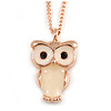 Small Owl Pendant with Rose Gold Tone Chain - 41cm L/ 5cm Ext