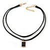 Black Double Black Faux Suede Cord Choker Necklace with Jet Black Square Glass Bead Pendant - 33cm L/ 5cm Ext