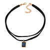 Black Double Black Faux Suede Cord Choker Necklace with Midnight Blue Square Glass Bead Pendant - 33cm L/ 5cm Ext