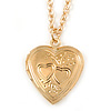 Small Heart Locket Pendant with Chain - 40cm L/ 6cm Ext