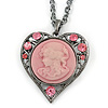 Pink Crystal Cameo Heart Pendant with Chain In Gun Metal - 60cm L/ 5cm Ext