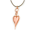 Pink Resin Contemporary Rose Gold Tone Heart Pendant with Grey Leather Cord - 76cm L/ 5cm Ext