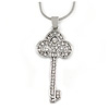 Clear Crystal Key Pendant with Silver Tone Snake Style Chain - 40cm L/ 5cm Ext
