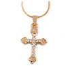 Small Clear Crystal Cross Pendant with Gold Tone Snake Type Chain - 44cm L/ 4cm Ext
