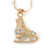 Small Crystal Ice Skating Boot Pendant with Snake Type Chain In Gold Tone - 40cm L/ 4cm Ext