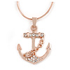 Crystal Anchor Pendant with Rose Gold Tone Snake Style Chain - 44cm L/ 4cm Ext