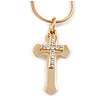 Gold Tone Crystal Double Cross Pendant with Snake Type Chain - 44cm L/ 5cm Ext