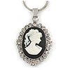Victorian Style Small Crystal Cameo Pendant with Snake Style Chain In Silver Tone - 40cm L/ 5cm Ext