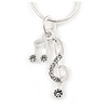 Small Crystal 'Musical Notes' Pendant with Silver Tone Snake Type Chain - 45cm L/ 4cm Ext