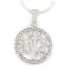 Silver Tone Small Crystal Tree Of Life Round Pendant with Snake Type Chain - 44cm L/ 4cm Ext