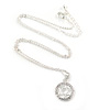 Star of David Pendant with Clear Accent on Silver Tone Chain - 45cm L/ 4cm Ext