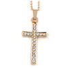 Clear Crystal Cross Pendant with Gold Tone Chain - 44cm L/ 5cm Ext