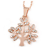 Small Crystal 'Tree Of Life' Pendant with Rose Gold Tone Chain - 44cm L/ 4cm Ext
