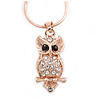 Clear/ Black Crystal Owl Pendant with Snake Type Chain In Rose Gold Tone Metal - 44cm L/ 4cm