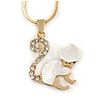 Small Crystal Kitten Pendant with Gold Tone Snake Type Chain - 41cm L/ 5cm Ext