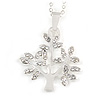 Small Crystal 'Tree Of Life' Pendant with Silver Tone Chain - 44cm L/ 4cm Ext
