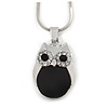 Cute Crystal Owl Pendant with Snake Type Chain In Silver Tone Metal - 42cm L/ 4cm