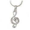 Crystal Treble Clef Pendant With Silver Tone Snake Chain - 40cm L/ 4cm Ext