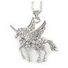 Delicate Crystal Unicorn Pendant with Silver Tone Chain - 40cm L/ 4cm Ext