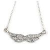 Delicate Clear Crystal Wings Pendant with Silver Tone Chain - 42cm L/ 4cm Ext