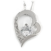 Romantic Crystal Open Heart Pendant with Silver Tone Chain - 41cm L/ 4cm Ext
