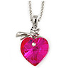 Fuchsia Faceted Glass Heart Shape Pendant with Silver Tone Beaded Chain - 40cm L/ 5cm Ext