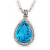 Sky Blue/ Clear Crystal Teardrop Pendant with Silver Tone Chain - 42cm L/ 5cm Ext