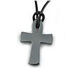 Dark Grey Hematite Cross Pendant With Black Cord - 39cm L/ 4cm Ext