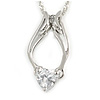 Delicate Clear CZ Heart Stone with Wings Pendant with Silver Tone Chain - 42cm L/ 5cm Ext