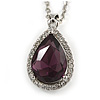 Amethyst/ Clear Crystal Teardrop Pendant with Silver Tone Chain - 42cm L/ 5cm Ext