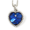 Romantic Royal Blue/ Clear Crystal Heart Pendant with Silver Tone Chain - 41cm L/ 4cm Ext