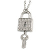 Statement Crystal Lock and Key Pendant with Chunky Long Chain In Silver Tone - 68cm Long