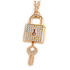 Statement Crystal Lock and Key Pendant with Chunky Long Chain In Gold Tone - 68cm