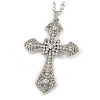 Large Crystal Filigree Cross Pendant with Chunky Long Chain In Silver Tone - 70cm L