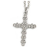 Medium Crystal Cross Pendant with Chunky Long Chain In Silver Tone - 70cm L