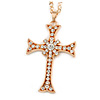Large Crystal Cross Pendant with Chunky Long Chain In Gold Tone - 66cm L