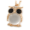 Large Crystal Owl Pendant with Chunky Chain In Gold Tone - 70cm L