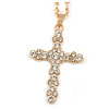 Medium Crystal Cross Pendant with Chunky Long Chain In Gold Tone - 66cm L